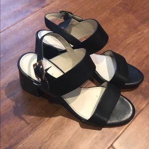 Cole Haan Two strap black leather sandals
